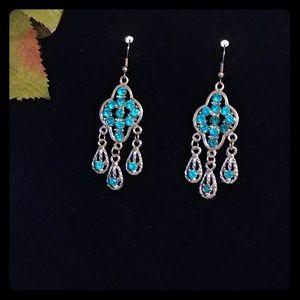 New Blue Chandelier Dangle Earrings